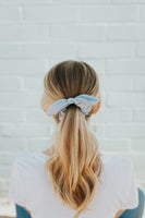 Blue Striped Bow Scrunchie