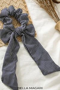 Dark Navy Striped Scrunchie Scarf