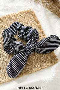 Bow + Stripes Dark Navy Scrunchie