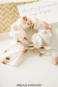 Floral + Gold Bow Scrunchie