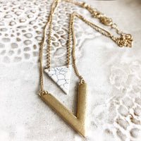 Marble Triangle Pendant Necklace