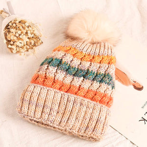 Multicolor Lined Beanie