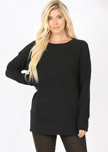 Black Side Split Knit Sweater