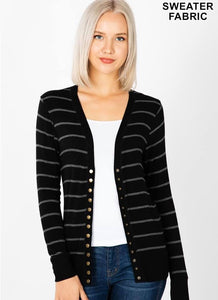 Black and Grey Striped Cardigan
