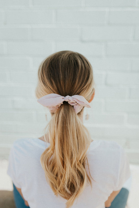 Pink Striped Bow Scrunchie