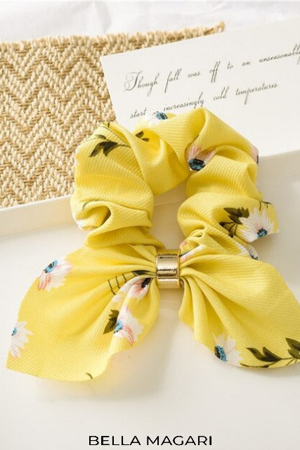Yellow Floral Scrunchie with Gold Detail