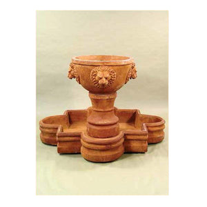 quatrefoil water fountain with lions head