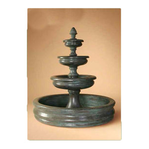 Three Tier Tuscan Garden Fountain w/Pond, 68 inches H x 60 inches W