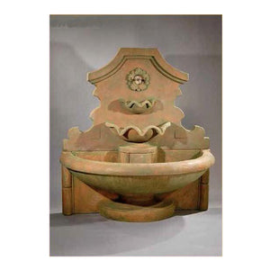 Rosette Huge Wall Fountain, 67 inches H x 63 inches W x 35 inches D.