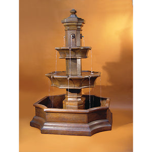 Grand Monte Carlo Huge Courtyard Pond Water Fountain, 93 inches H x 65 inches W FREE SHIPPING