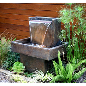 Water Wall Fountain With Base, 40 inches H x 36 inches W x 22 inches D