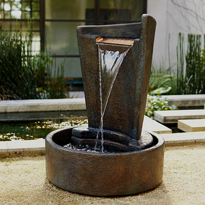 Eclipse Contemporary Water Fountain, 41 inches H x 29 inches W x 29 inches D