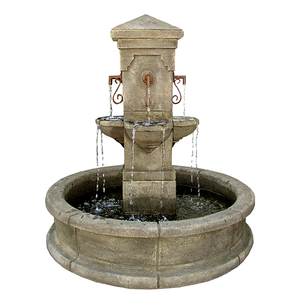 European outdoor cement fountains