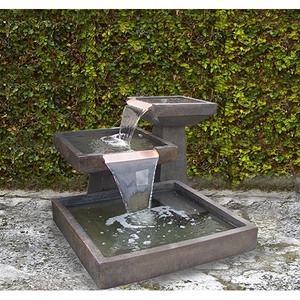 Water feature with copper spill