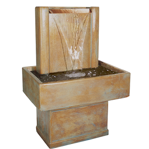 fountain with copper sheet spillways, Water Fountain, Houzz Fountain, Modern Fountain, Cement Fountain, Fountain for outdoor, Garden decor, Garden ornaments, Ornaments for outside or outdoor