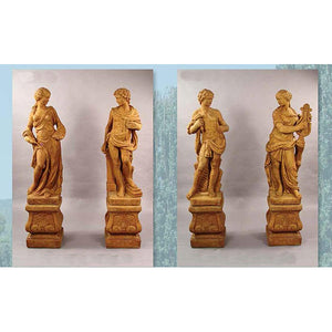 Four Muses Garden European Sculptures with Pedestals FREE SHIPPING