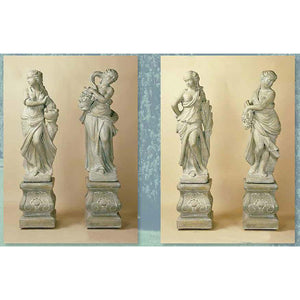 Four Seasons Garden European Sculptures with Pedestals FREE SHIPPING