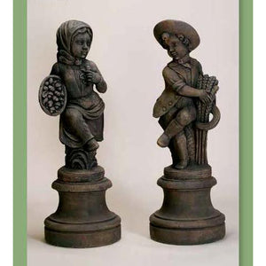 Country Girl and Boy Statues with Pedestals FREE SHIPPING