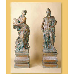 Athena and Marte Greek Roman Garden Concrete Sculptures with Pedestal FREE SHIPPING