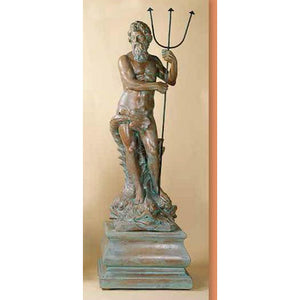 Neptune Huge Greek God Garden Sculpture with Pedestal FREE SHIPPING