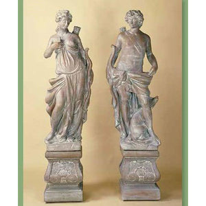 The Huntress and The Hunter Statuary Set with Pedestals FREE SHIPPING