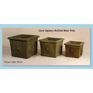 Lion Square Rolled Rim Pots Set of Three, FREE SHIPPING