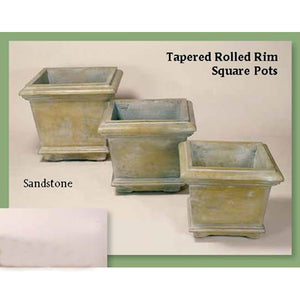 Tapered Rolled Rim Square Pots Set of Three, FREE SHIPPING