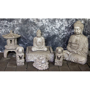 Buddha Fountains set with Pagodas and Foo Dogs