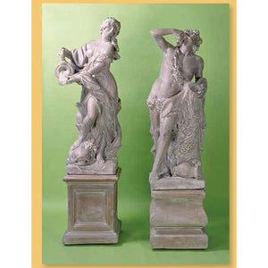 La Ninfa and Bacco Roman Gods Sculptures with Pedestals FREE SHIPPING