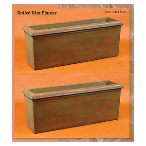Huge Rolled Rim Planter Set of Two, FREE SHIPPING