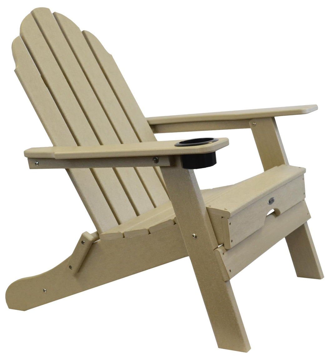 Atlas Patio Furniture - Beach Haven Poly Adirondack Folding Chair - Color: Sand