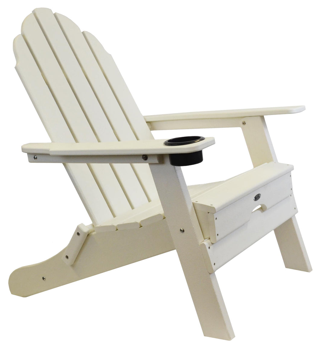 Atlas Patio Furniture - Beach Haven Poly Adirondack Folding Chair - Color: White
