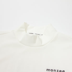 Mock-Neck Long White