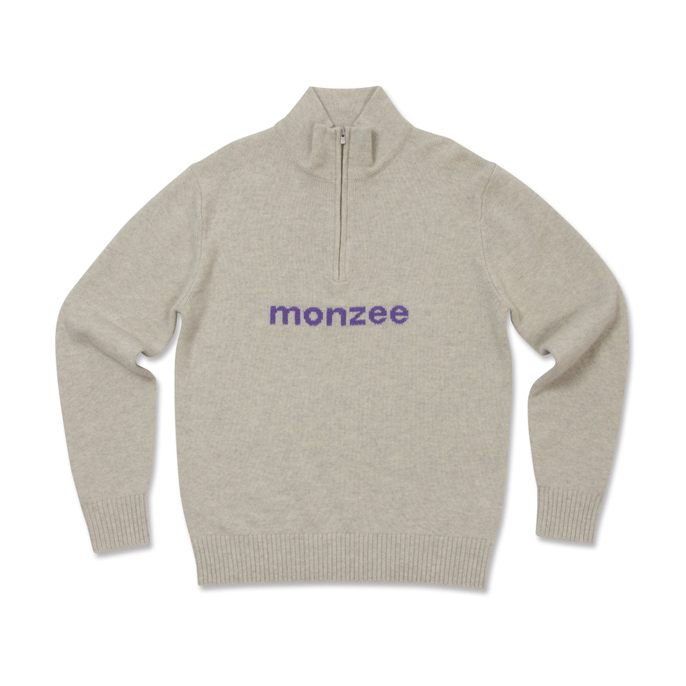 Cashmere Mix Half-Zip Grey