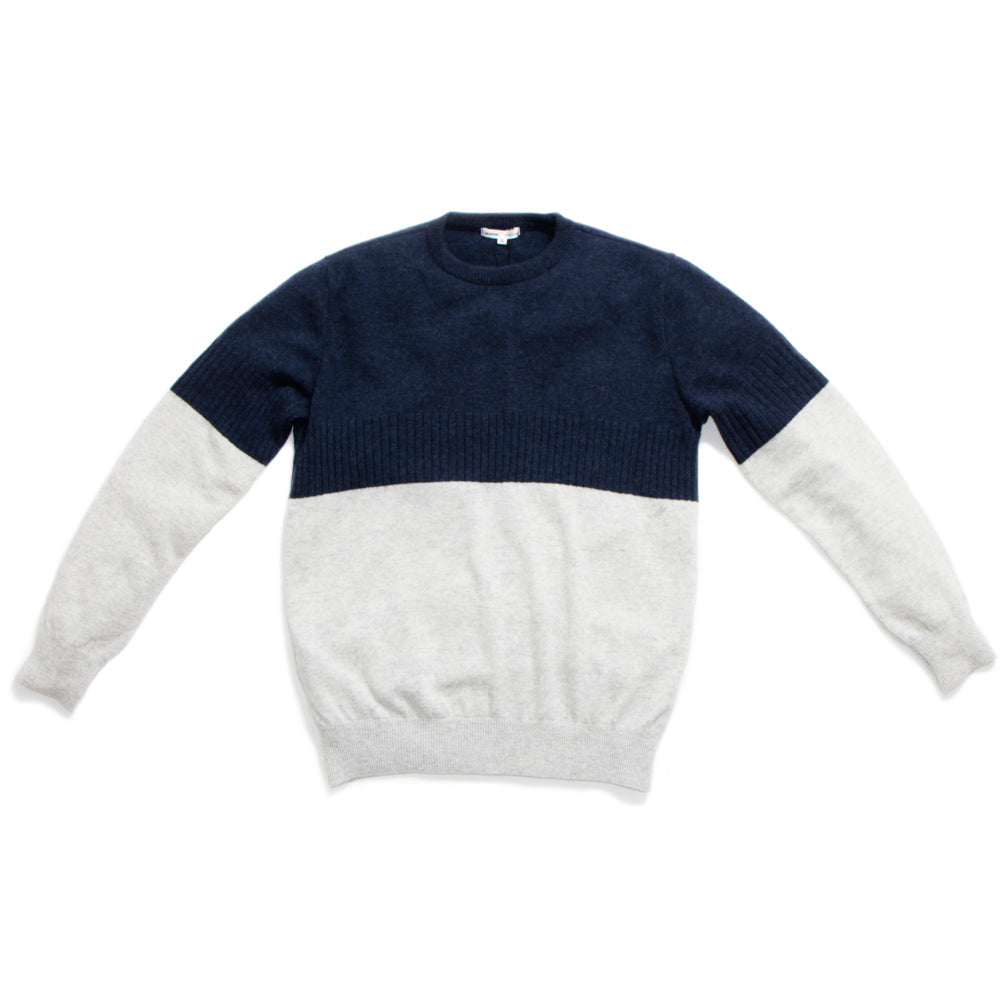 100% Cashmere Panel Sweater Navy 【LLのみ】