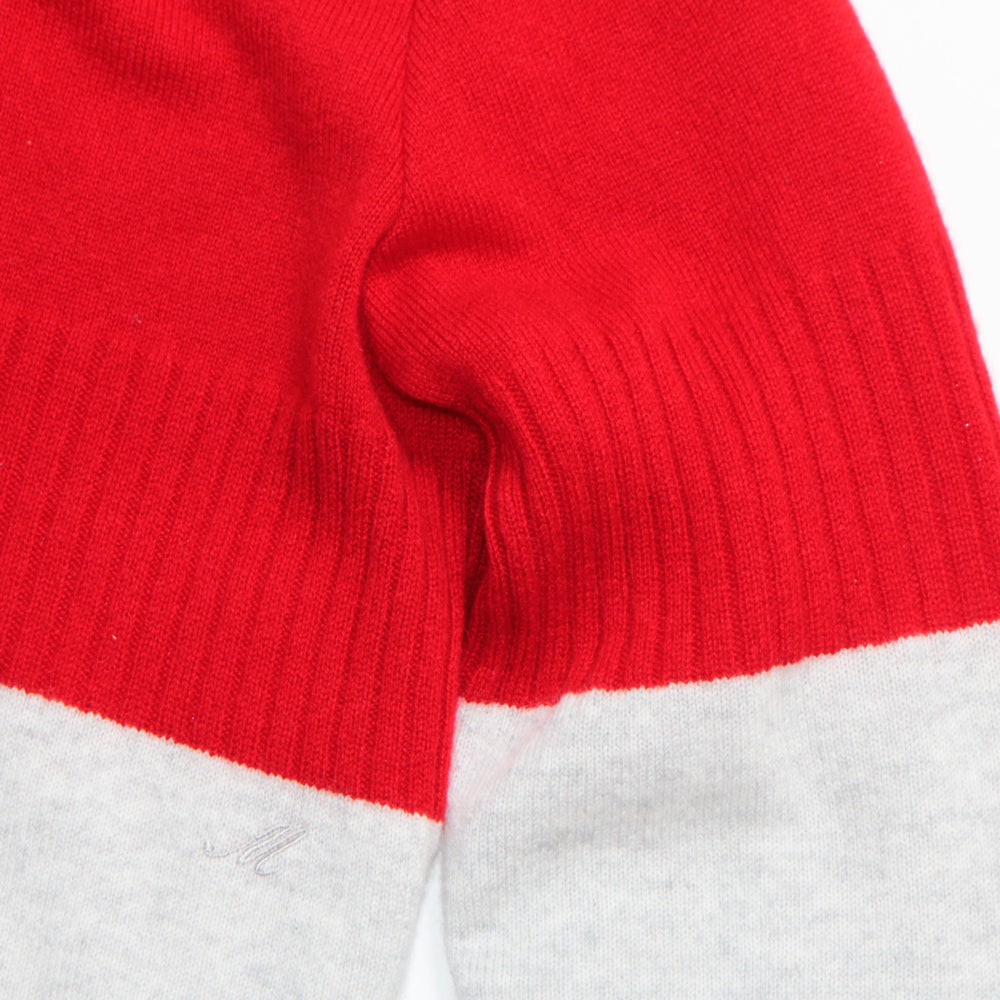 100% Cashmere Panel Sweater Red(20%off)