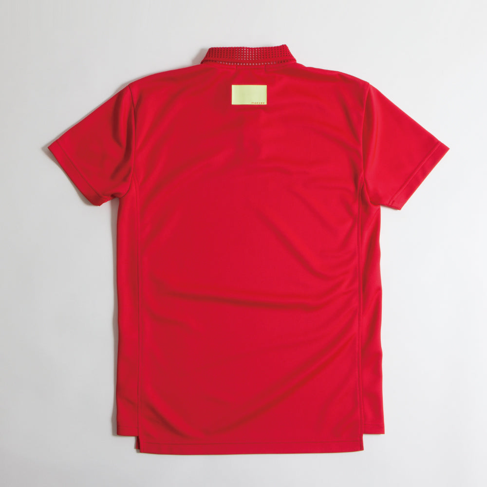 Mesh Collar Polo Red【Lのみ】(50%off)