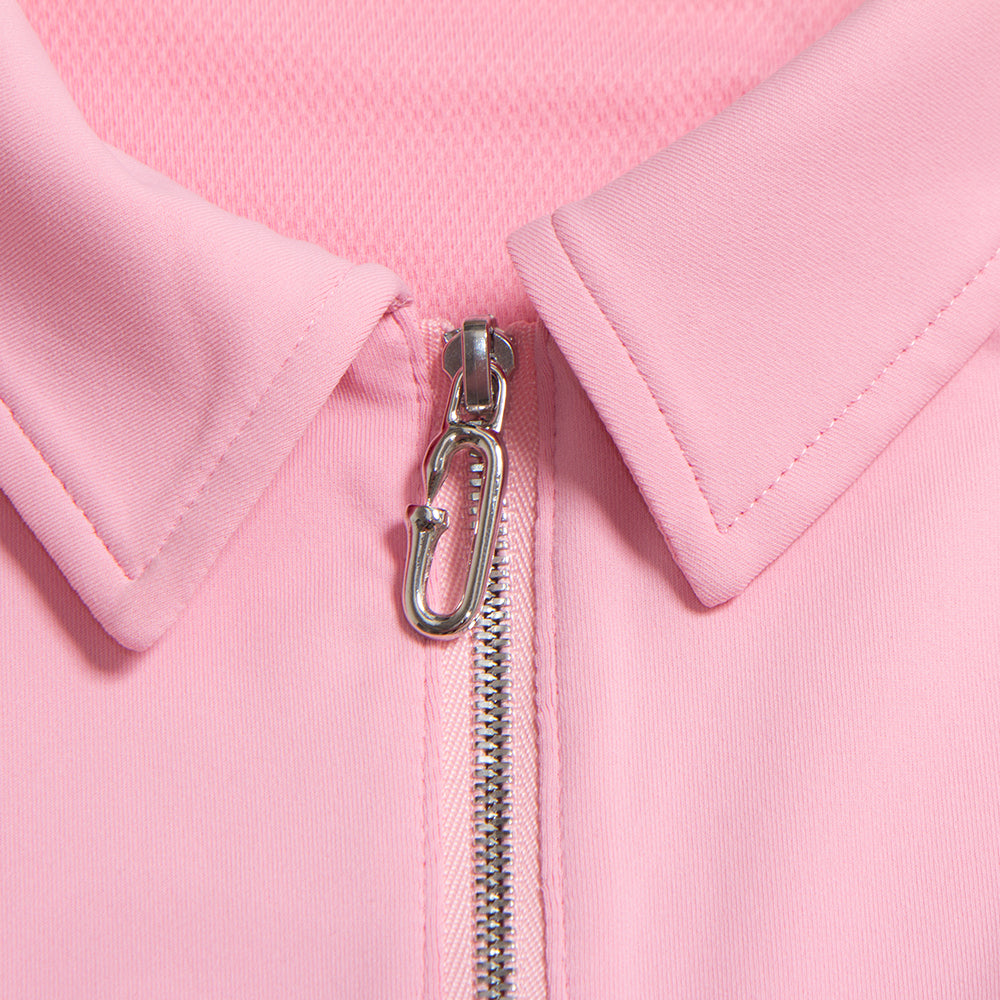 Zip-Up Pink Polo