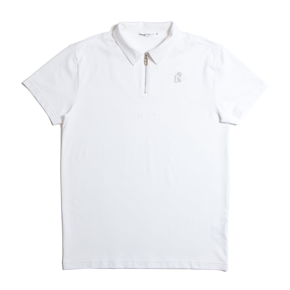 Zip Up White Polo