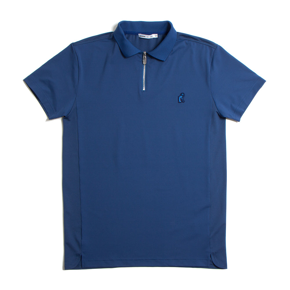 Zip Up Rib Polo Navy