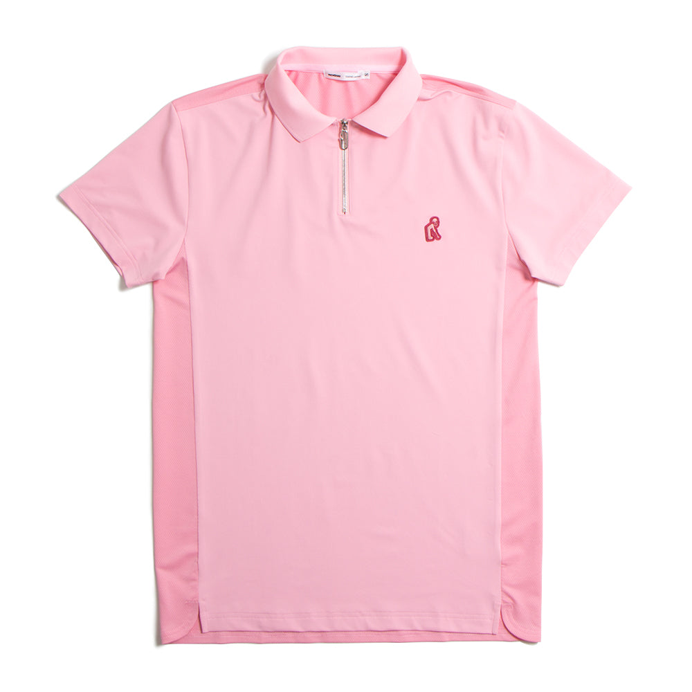 Zip Up Rib Polo Pink