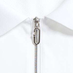 Zip Up Rib Polo White