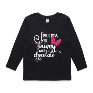 Follow The Bunny Long Sleeve Tee - Pink