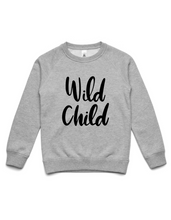 Wild Child- Kids Crew Jumper- Grey