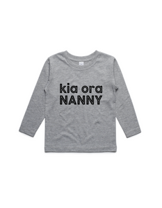 kia ora NANNY- KIDS LONG SLEEVE TEE