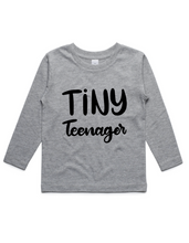 Tiny Teenager- Kids Long Sleeve Shirt- Grey