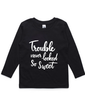 Trouble never looked so sweet- Kids Long Sleeve Shirt- Black