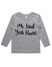 Mr Steal Your Heart- Kids Long Sleeve Shirt- Grey