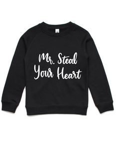 Mr Steal Your Heart- Kids Crew Jumper- Black