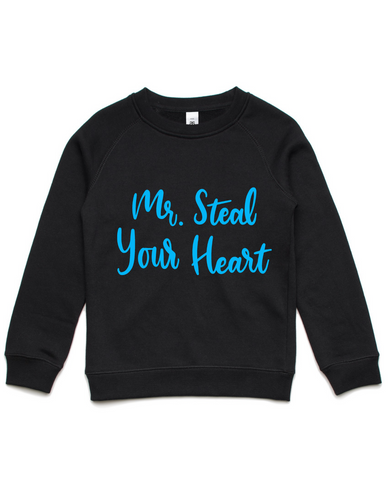 Mr Steal Your Heart- Kids Crew Jumper- Blue